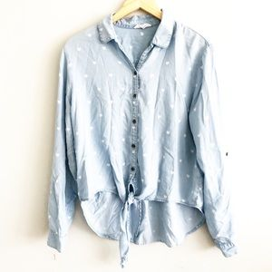 Beach Lunch Lounge Heart Tie Front Button Down